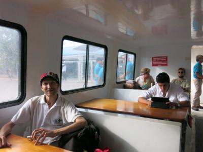 On the boat from La Ceiba to Utila.
