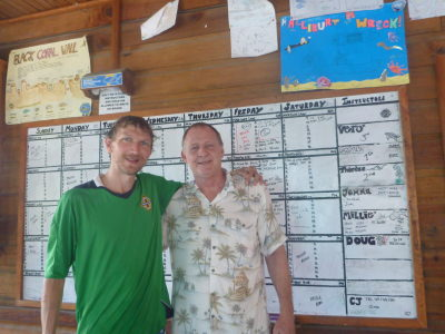 With Jimmy - the main man at Utila Dive Center.