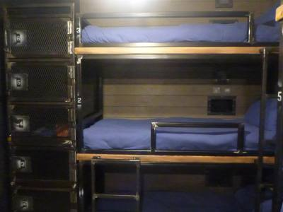 Lockers next to the beds.