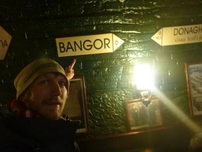 Bangor sign in Deane's Irish Pub