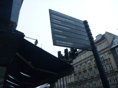 A signpost in Copenhagen for Christiania.