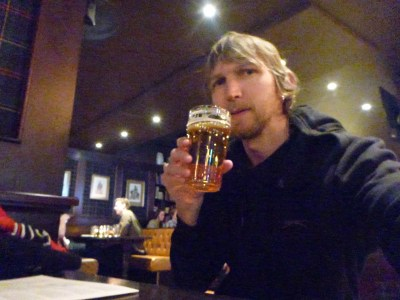 Cheers everyone! Having a beer in country 99 just a few hours after arrival.
