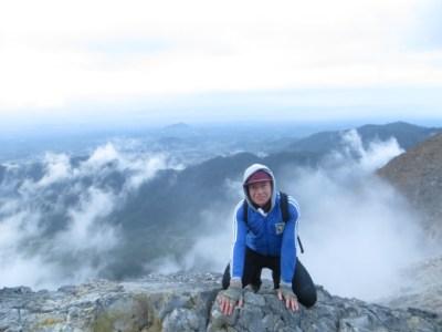 World Traveller Justin Egli climbing the active volcano of Sibayak