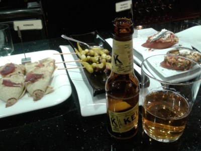 Local beer and pinchos in Parte Viejo, the Old Town of Donostia
