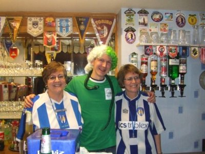 With Jeanette and Lea - the Colchester United bar ladies at the old Layer Road.