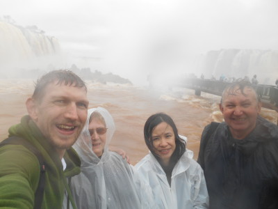 Getting soaked at Iguacu