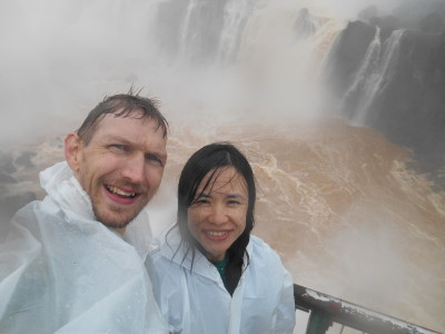 Getting soaked at the incredible Iguazu Falls
