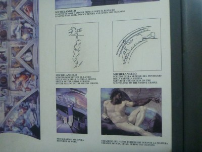 Some of the information boards on the works of Michaelangelo.