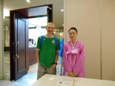 With one of the staff at the Yanggakdo Hotel