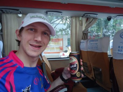 Beer on the bus to Yangshuo