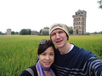 Admiring the rice fields of Zili on route to the Kaiping Diaolou