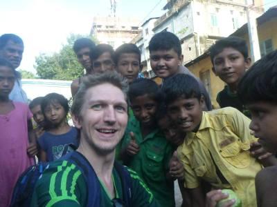 Enjoying chatting to the locals in Chittagong, Bangladesh