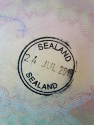The sought after Sealand passport stamp - courtesy of Simon at Around the World in 80 runs.