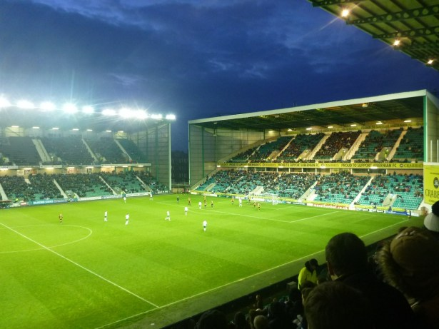 Dusk at Easter Road, Hibernian and a 2-0 home win