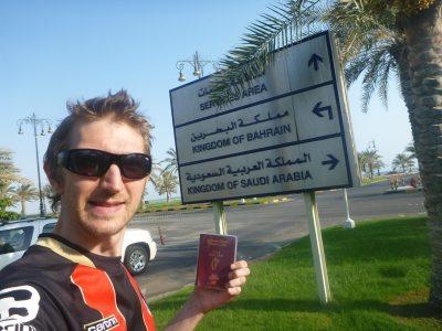 At the Bahrain to Saudi Arabia border control