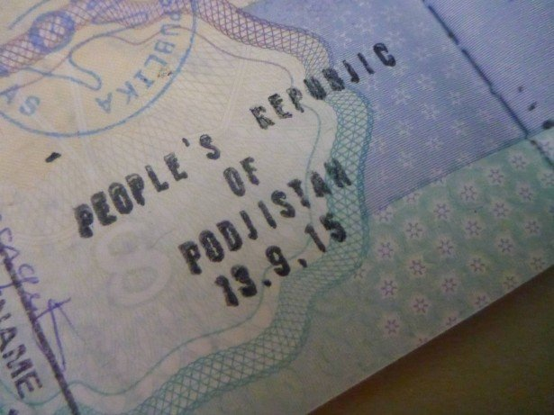 My passport stamp for the People's Republic of Podjistan, on my British passport