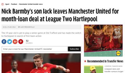 Jack Barmby to Hartlepool - Daily Mirror