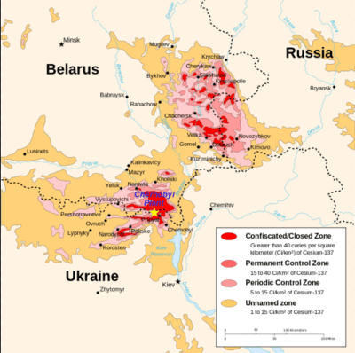 The borders of the CEZ - Chernobyl Exclusion Zone