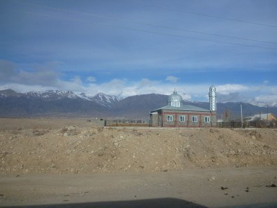 A Mosque in the Kyrgyzstani countryside on route to Ata