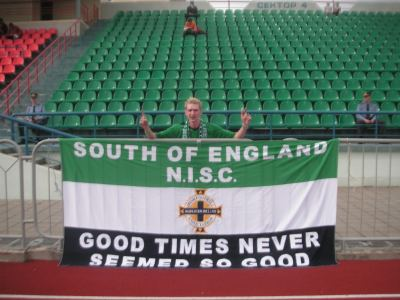 Yes, I'm the only Northern Ireland fan at the Sparta Stadium in Bobruisk, Belarus