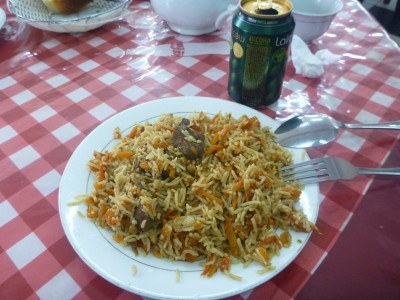 Plov for lunch in Kulob, Tajikistan.