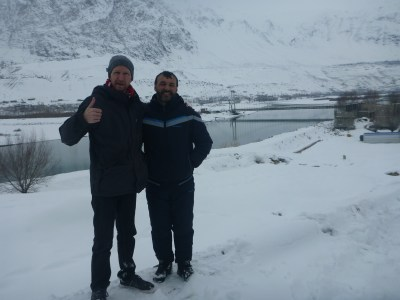 Said and I on the Tajikistan side staring at Afghanistan