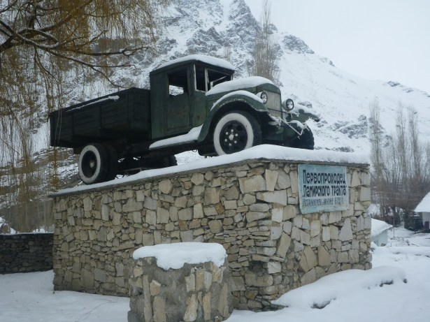 The first ever car to arrive in the Pamirs!
