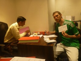 Jonny Blair getting his permit in Gujarat