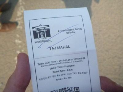 My ticket for Taj Mahal with Delhi Magic