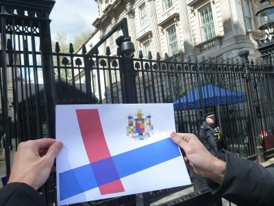 The Kingdom of Lovely flag at Ten Downing Street, Whitehall