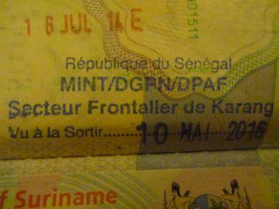 Exit stamp for Senegal at Karang