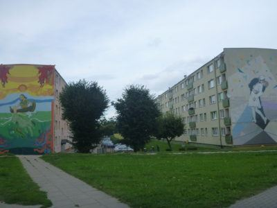 Walking past the murals of Tczew, Poland