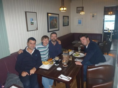Ryan Smith, Scott Callen and Dougie Gordon on a rare school reunion in 2014 in Bangor, my hometown