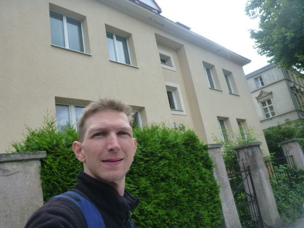Outside the Russian Embassy in Gdansk. (too this round the corner as the front had lookout guys)
