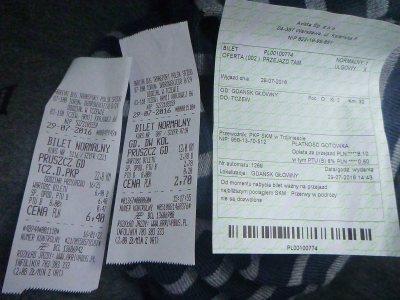 3 bus tickets including my last one from Pruszcz Gdański to Tczew!