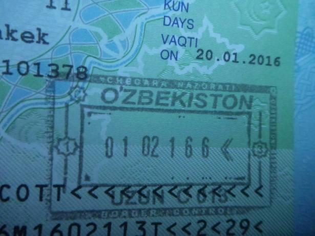 Arrival stamp in Uzbekistan
