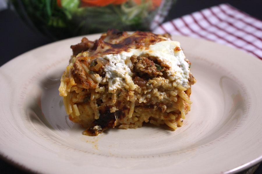 Baked Spaghetti - This dish is crazy delish! by Don't Sweat The Recipe