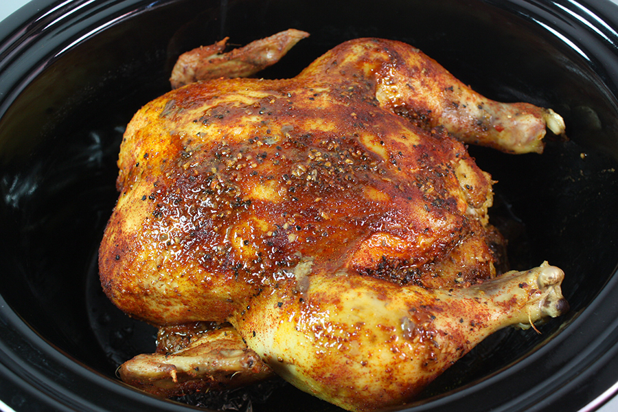 whole cooked chicken in the crock pot