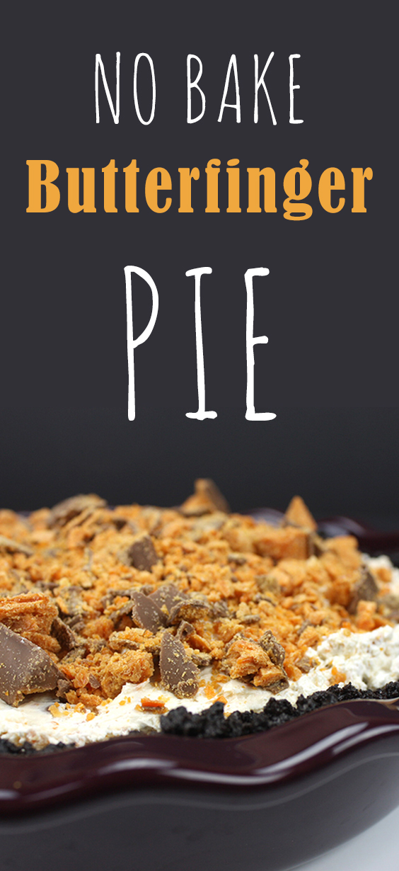 No Bake Butterfinger Pie - This pie was a HUGE hit! Rich, creamy and indulgent.