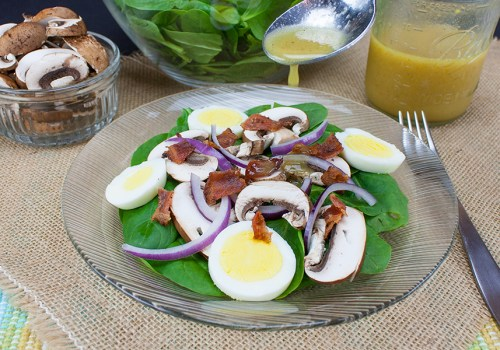 Spinach Salad with Curry Mustard Vinaigrette - Zesty, tangy spinach salad. It's all about the most amazing curry mustard vinaigrette!