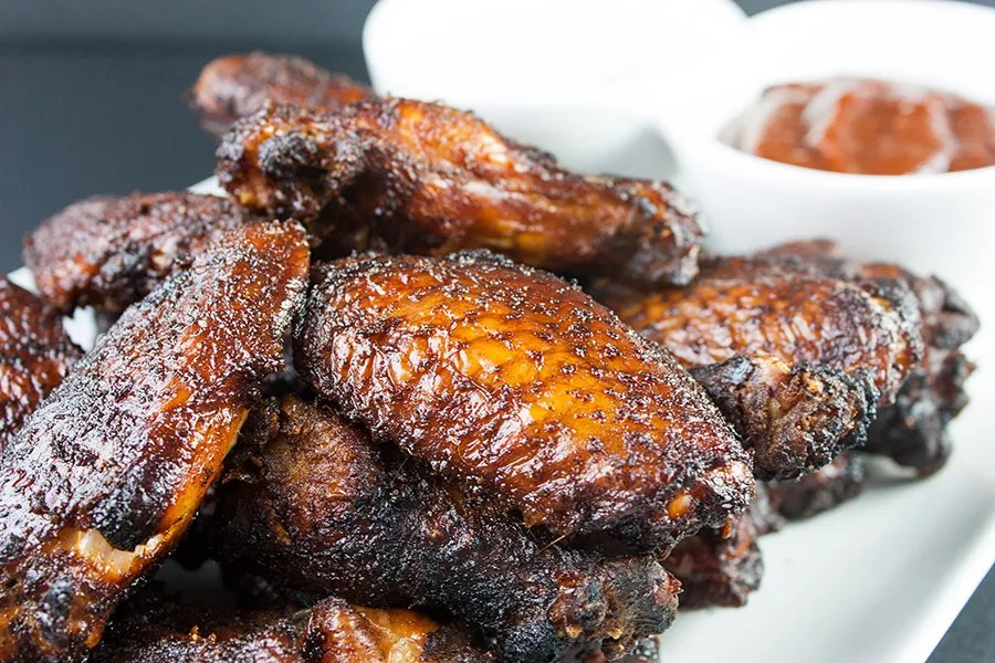 Smoked Chicken Wings on white plate