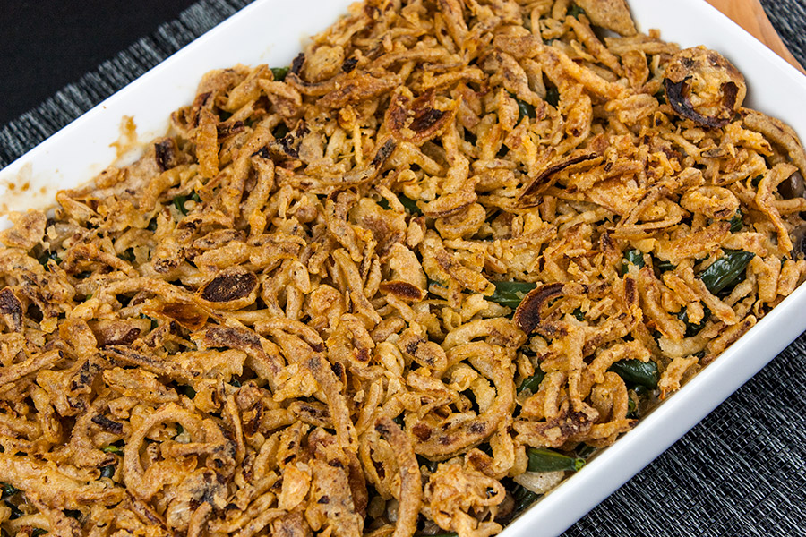 baked Green Bean Casserole in a white baking dish