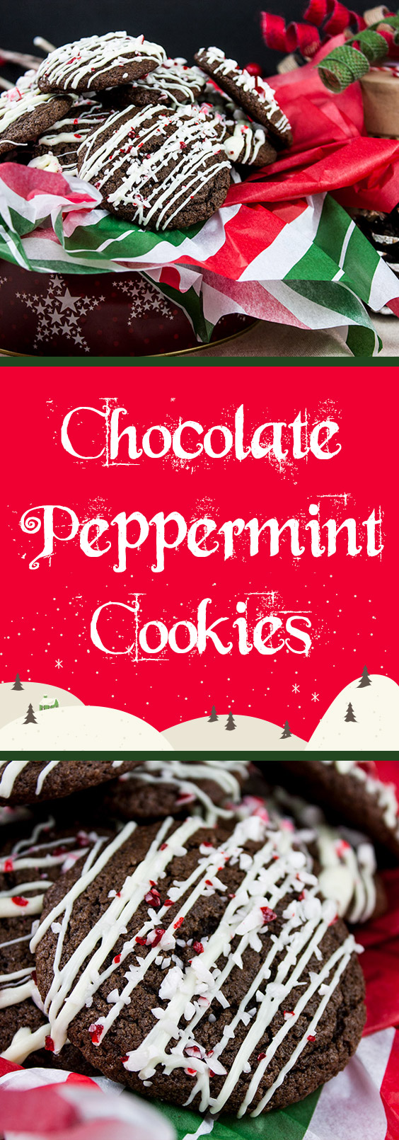 Chocolate Peppermint Cookies - A rich, dark chocolate cookie with just the right amount of peppermint flavor drizzled with white chocolate and topped with crushed peppermint candy canes.
