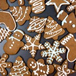 decorated cookies on a piece of slate