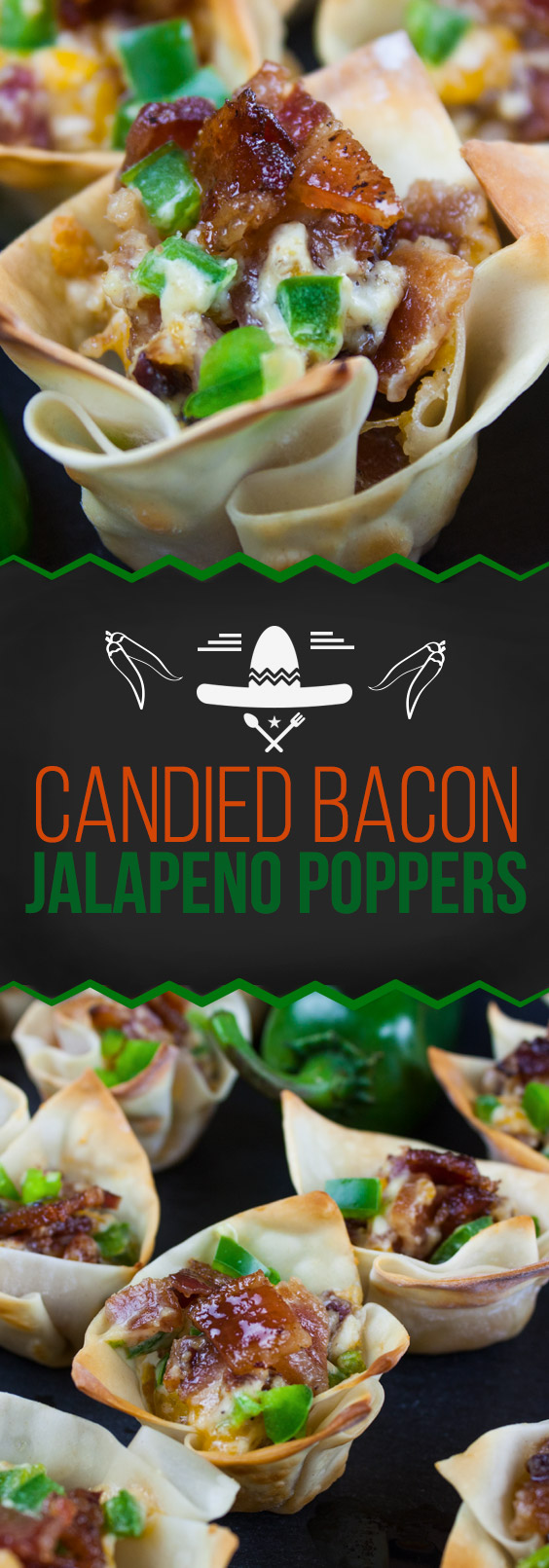 Candied Bacon Jalapeno Poppers - Jalapeno Poppers ramped up with candied bacon. You have sweet, savory, spicy and all the wonderful various textures which gives you the perfect bite. Amazingly delicious!