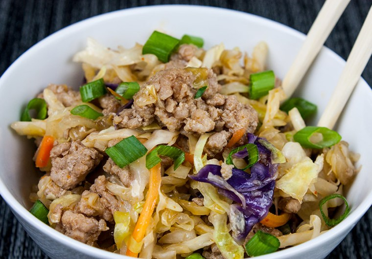 """Pork Egg Roll Bowl - Same great flavor as a traditional egg roll just without the wrapper. It's also known as """"crack slaw"""". Super easy to make with budget-friendly ingredients."""