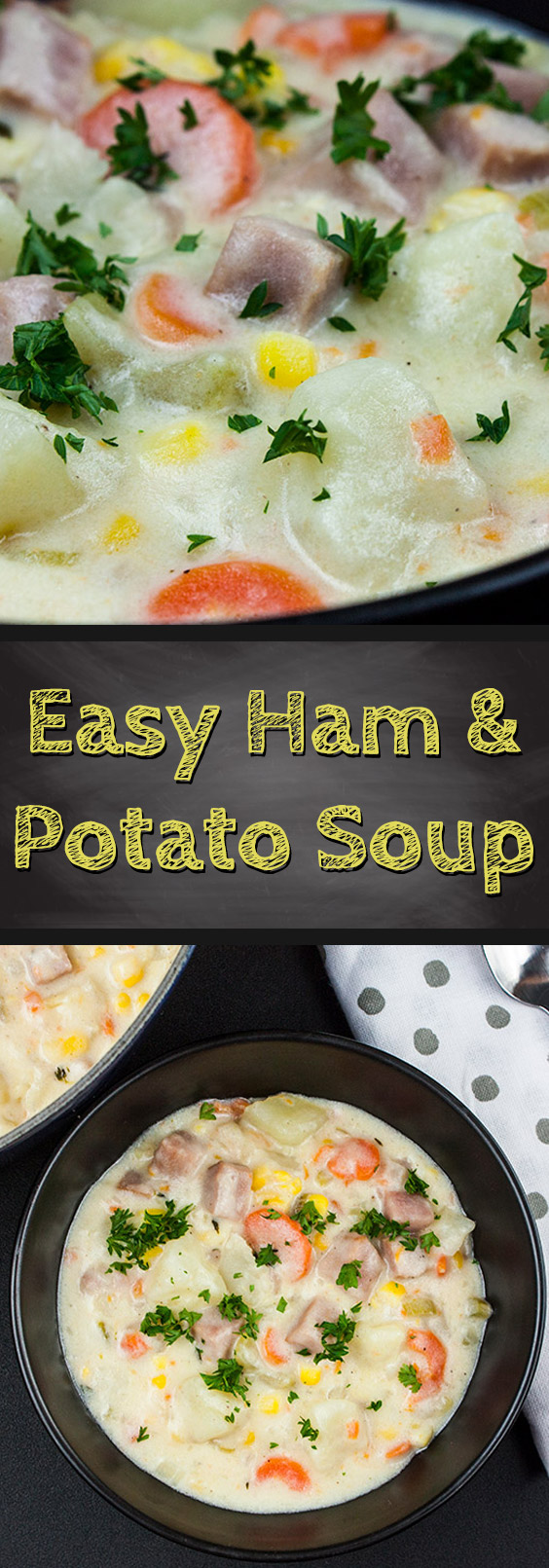 Easy Ham and Potato Soup - A creamy, warm, and hearty weeknight meal. So delicious it will be a new family favorite.#dinner #soup #comfortfood #recipe