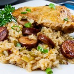 One Pan Chicken and Dirty Rice - Add a little Cajun spice to your dinner tonight!Spicy, creamy, delicious and ready in 30 minutes!