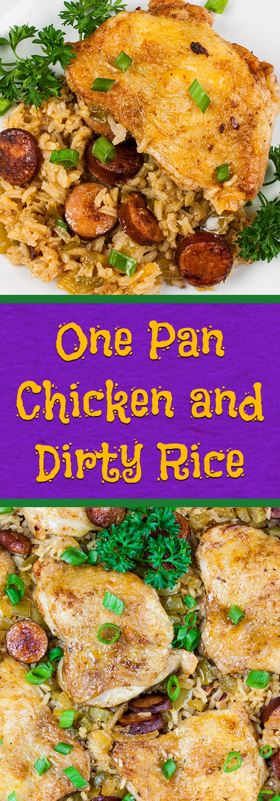 One Pan Chicken and Dirty Rice - Add a little Cajun spice to your dinner tonight!Spicy, creamy, delicious and ready in 30 minutes! #dinner #easy #recipe