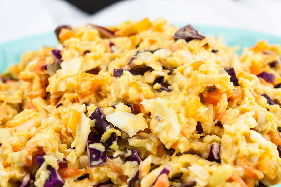 Tangy Southern Mustard Coleslaw close up picture in a blue bowl